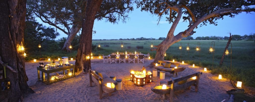 Romantic, luxury Xaranna Camp Okavango at dusk